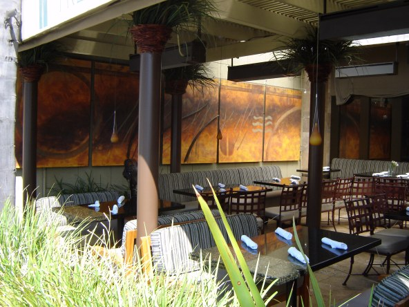 """Moving Wind"" Sculpture on panels with metal bars attached. Used metal, sand, acrylic, marmarino plaster plus misc. in San Diego, La Jolla, CA."