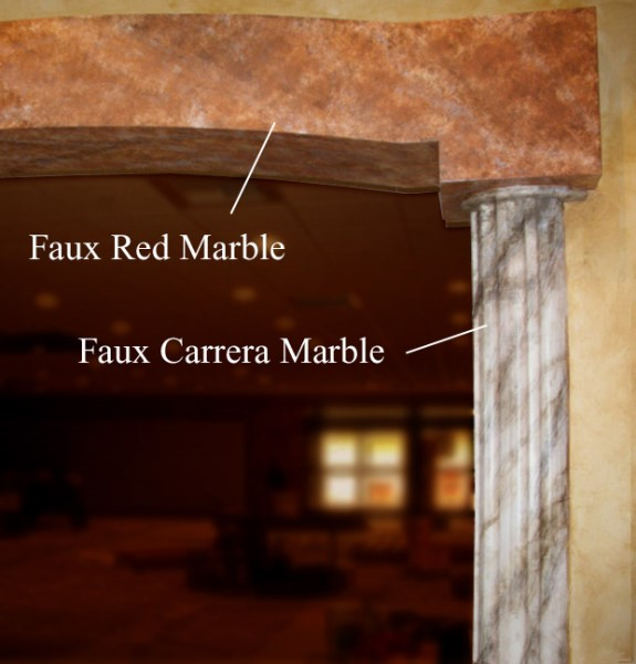 Faux Red and White Carrera Marble