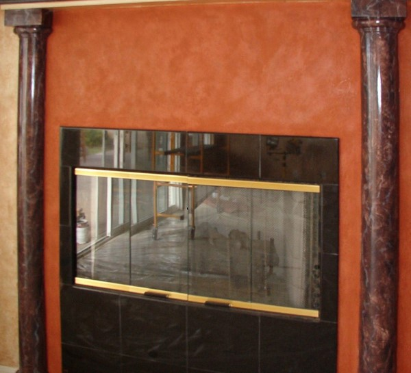 Faux Black Marble with Red Stone San Diego