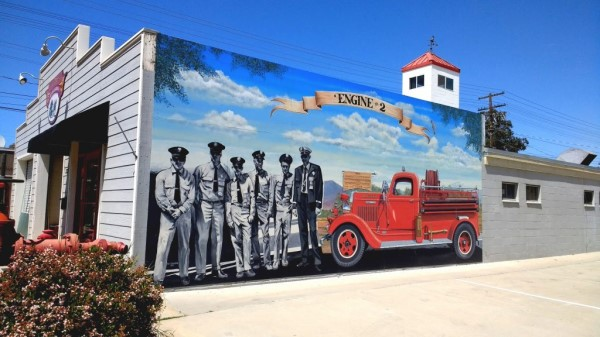 "Historic Firehouse Mural for Ramona, California titled ""Engine #2"" by mural artist Rik Erickson in San Diego"