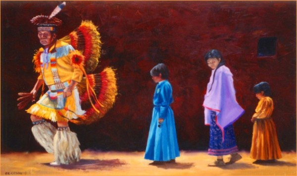 Indian Dancers painting artist San Diego CA. Rik Erickson