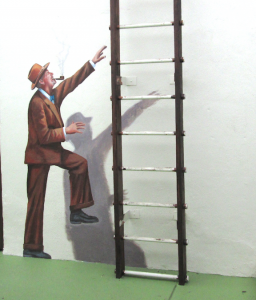 climbing man on ladder trick the eye trompe l'oeil norman rockwell