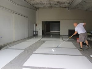 Priming the mural panels