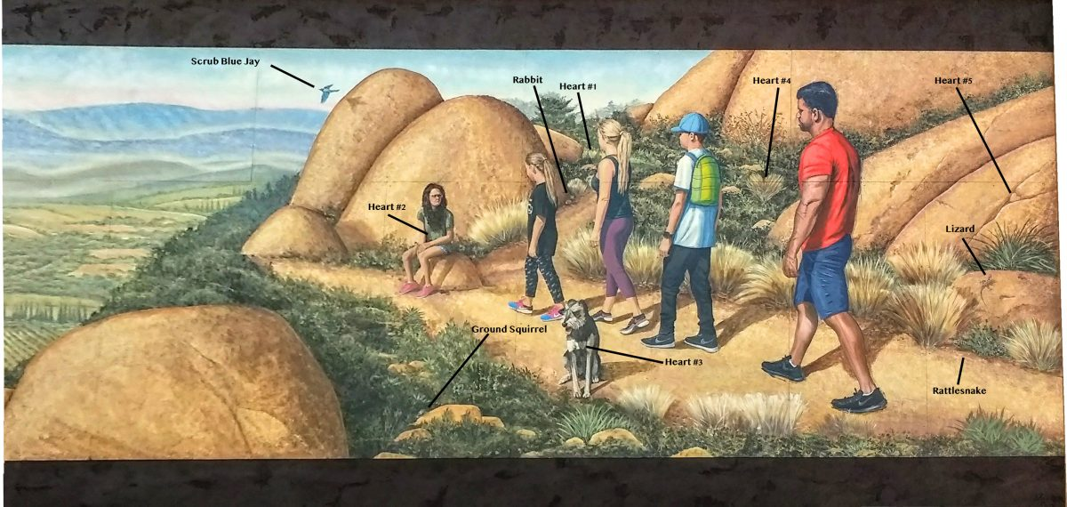 Mt. Woodson Mural with location of hearts and animals