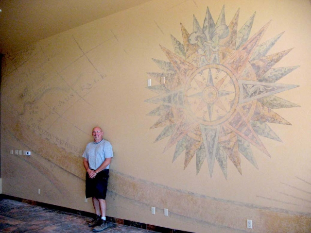 Compass and Map Mural for Navy Chiefs Room - Camp Pendleton, California