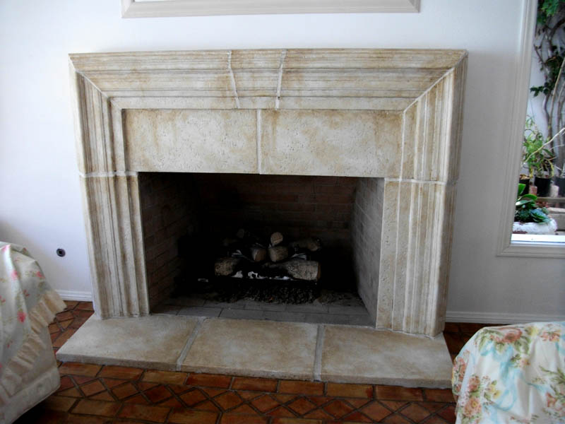 Faux Stone treatment over a plain white painted fireplace