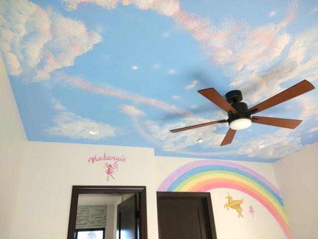Girls Room Ceiling mural clouds sky