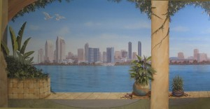 San Diego skyline mural whole