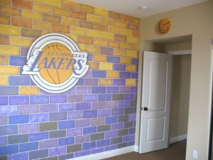 San Diego sports mural for childrens room Lakers wall mural