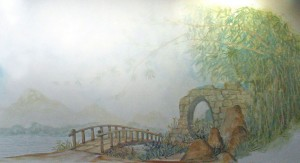 Misty Chinese mural close