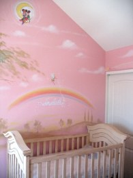 Pink room girls mural