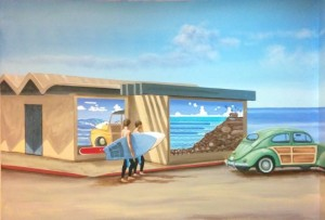 Close up Tourmaline Surf Park Mural by San Diego Murals Fantastic for Eldercare Facility""