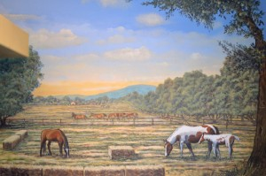 Horse Ranch mural with Appaloosa