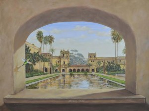 Balboa Park Reflecting Pond mural through arched window