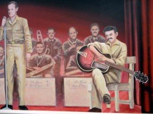 Bob Hope, the big band in background and Tony Romano, the guitarist