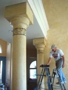 Color Washed Columns & faux mosaic tiles.