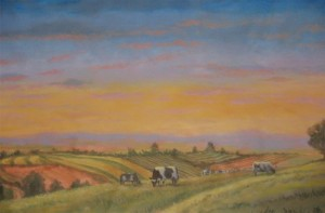 Farm Lands Panoramic Mural cows