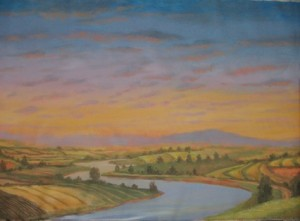 Farm Lands Panoramic Mural river