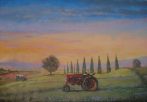 Farm Lands Panoramic Mural tractor