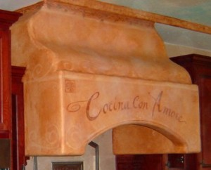 Faux Treated Stove Hood & Hand Lettering