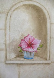 Flower on glass on window ledge trompe l'oeil