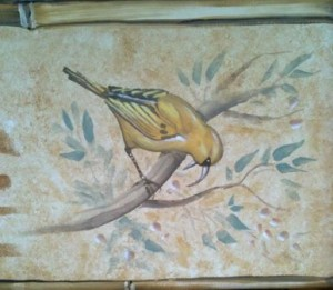 Hand-painted tropical birds & stencil 1