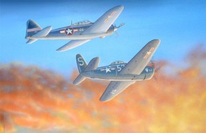 Historic mural with Corsair airplanes over land in sunset close