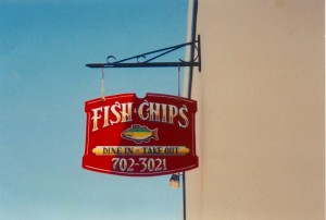 Fish and chips wooden sign
