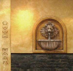 Stencil, Faux Wall Treatment & Trompe L'oeil Lion Fountain