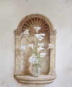 Trompe L'oeil calla lilies and niche with shell motif.