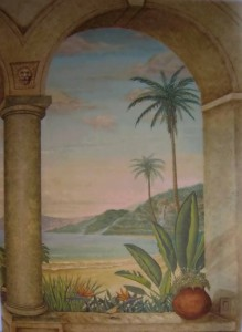 Tropical mural close up