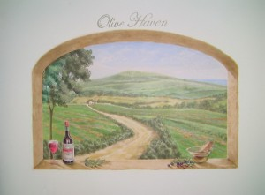 Wine bottle on arched window mural