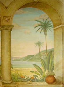 Trompe L'oeil tropical window lookout