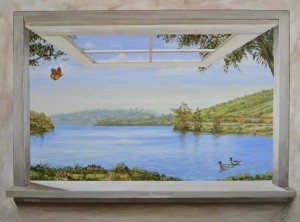 trompe l'oeil window of lake scene