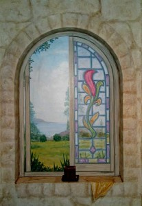 trompe l'oeil window with stained glass