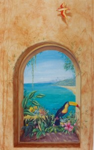 tropical trompe l'oeil window.with toucan and monkey