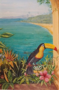 tropical trompe l'oeil window.with toucan and monkey 2
